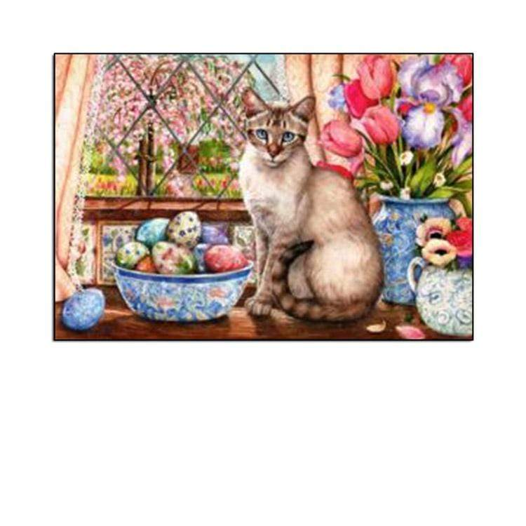 5D Diamond Painting Easter Egg Cat Kit