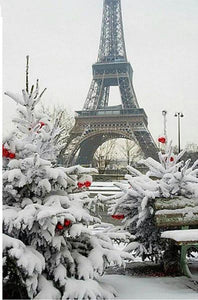 5D Diamond Painting Eiffel Tower Snow Kit