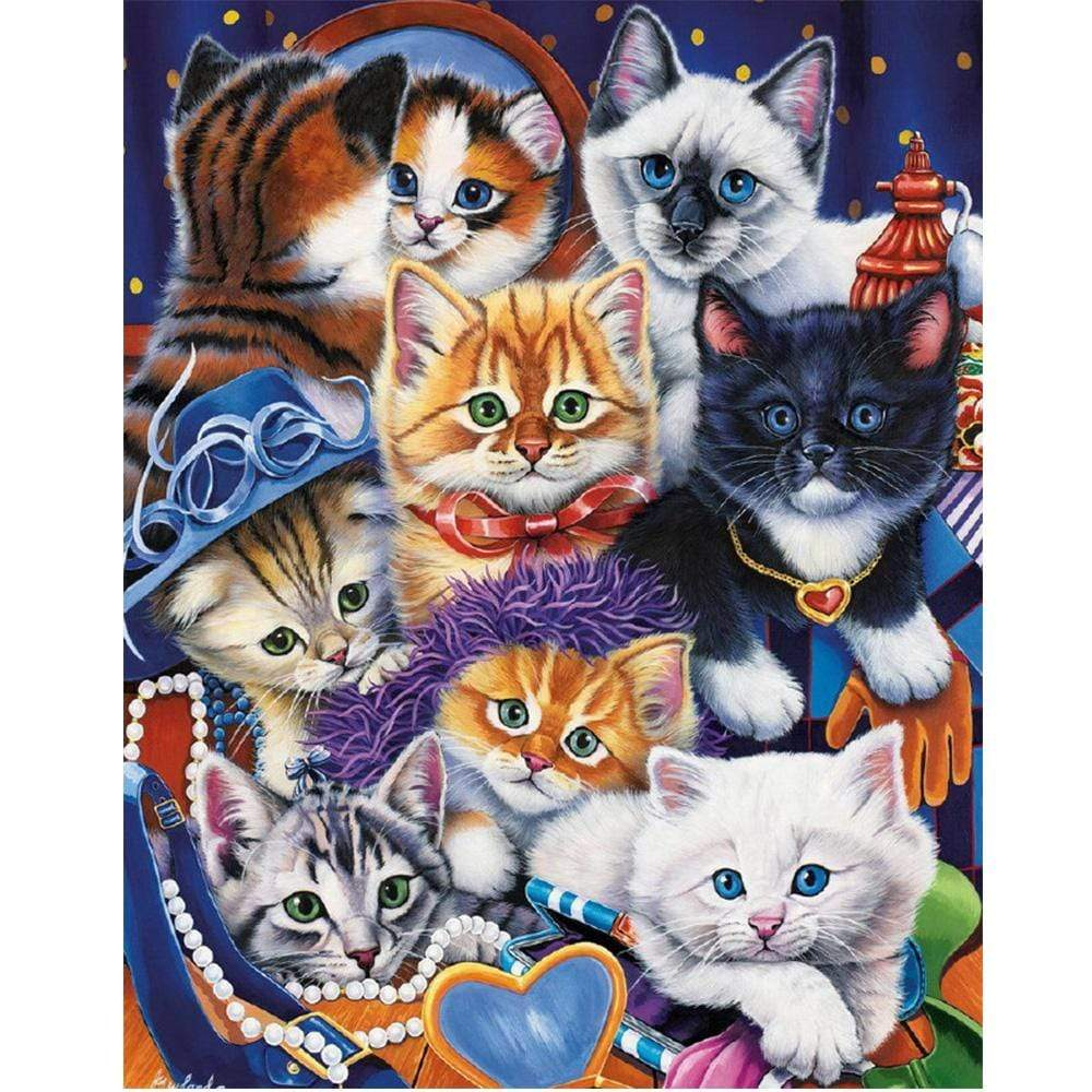 5D Diamond Painting Eight Cats Kit