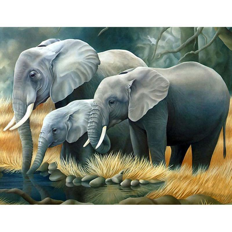 5D Diamond Painting Elephant Family Kit