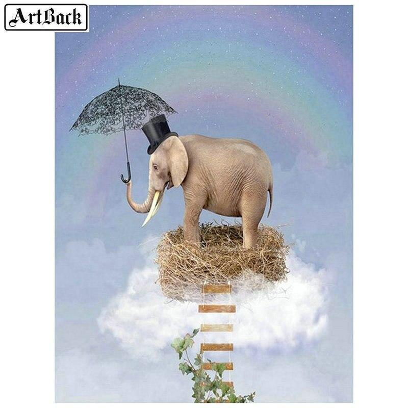 5D Diamond Painting Elephant in a Bird Nest Kit