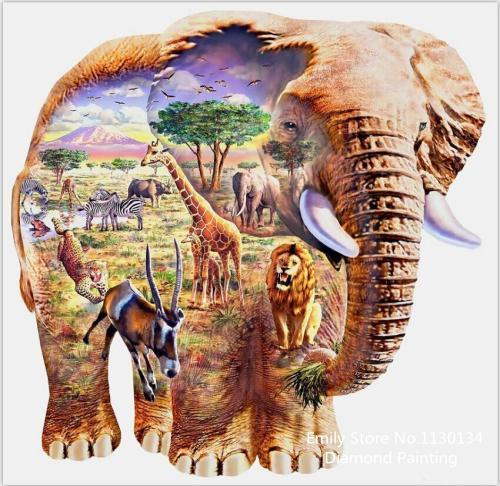 5D Diamond Painting Elephant Safari Kit