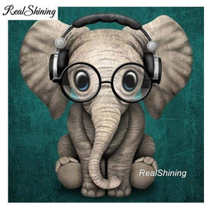5D Diamond Painting Elephant with Glasses Kit