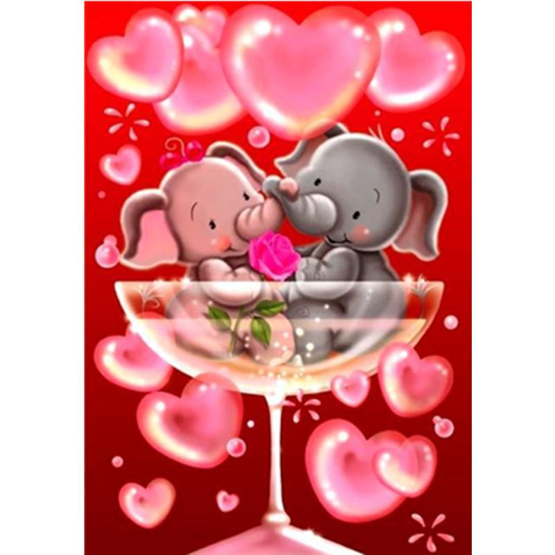 5D Diamond Painting Elephants Champagne Hearts Kit