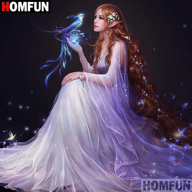 5D Diamond Painting Elfin Woman and the Magic Bird Kit