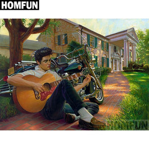 5D Diamond Painting Elvis Guitar and Motorcycle kit