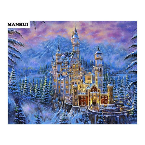 5D Diamond Painting European Castle in the Snow Kit