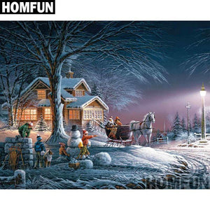 5D Diamond painting Evening Winter Wonderland Kit