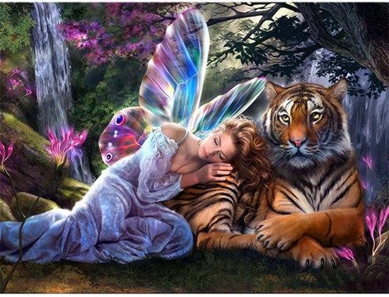 5D Diamond Painting Fairy and the Tiger Kit