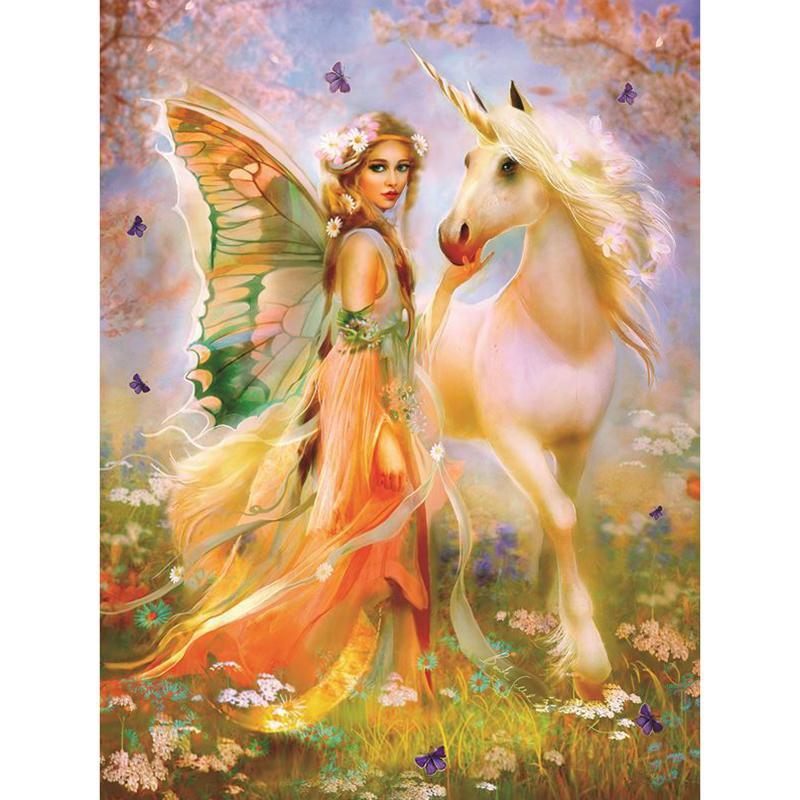 5D Diamond Painting Fairy and the Unicorn Kit