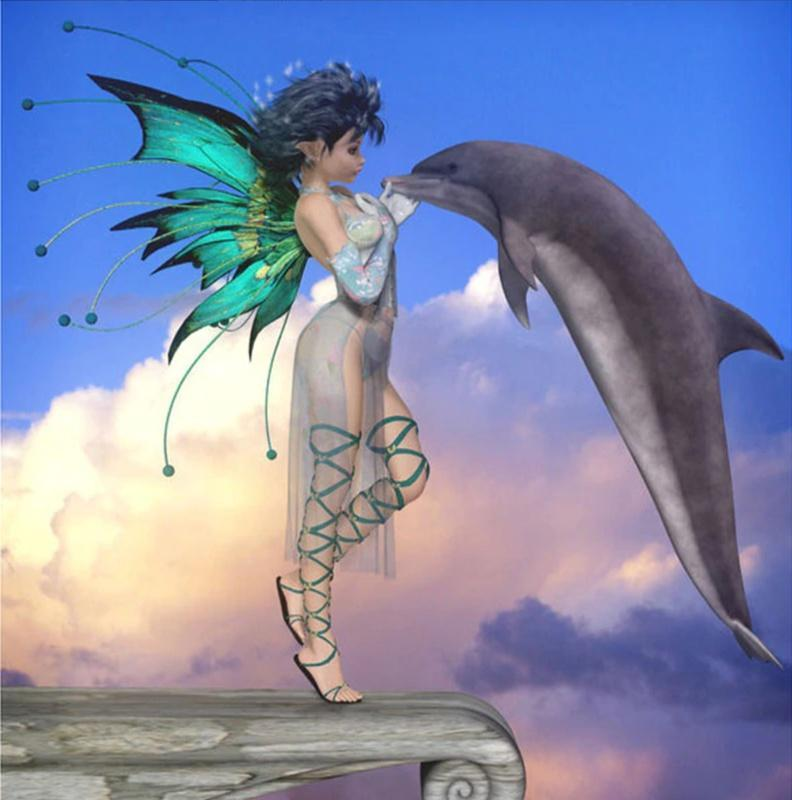 5D Diamond Painting Fairy Dolphin Kit
