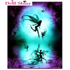5D Diamond Painting Fairy Moon Silhouettes Kit