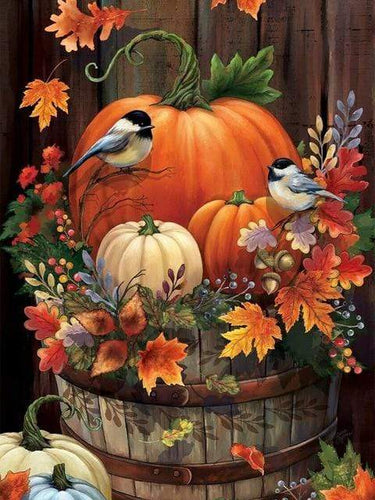 5D Diamond Painting Fall Leaf Pumpkin Barrel Kit
