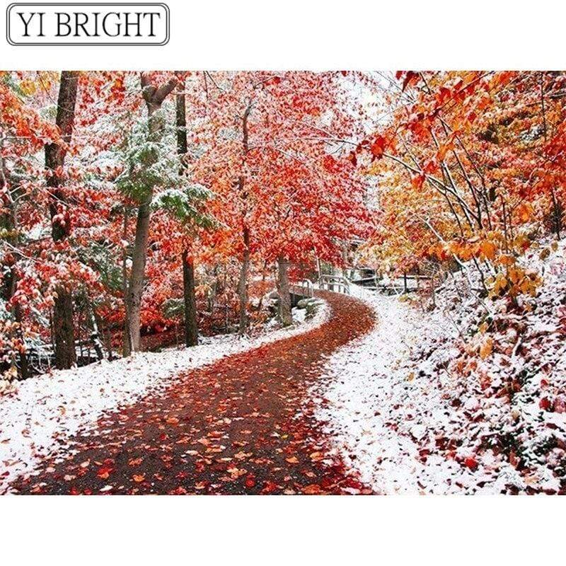 5D Diamond Painting Fall Leaves and Snow Road Kit