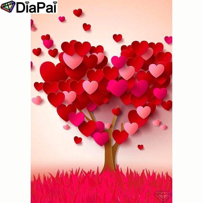 5D Diamond Painting Falling Leaves Red Heart Tree Kit
