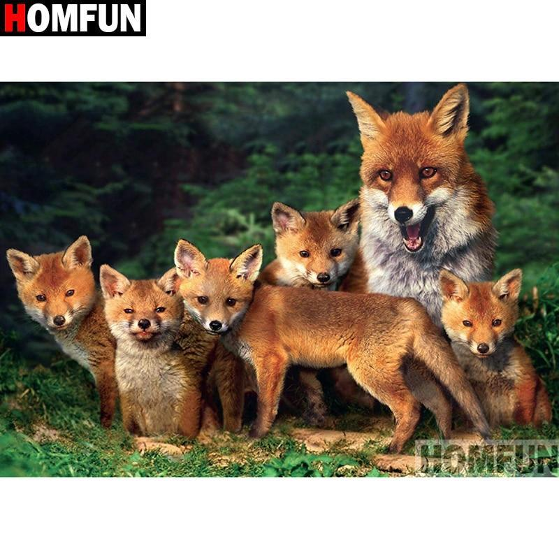 5D Diamond Painting Family of Foxes Kit