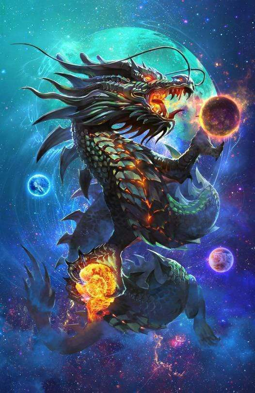 5D Diamond Painting Fire Ball Dragon Kit