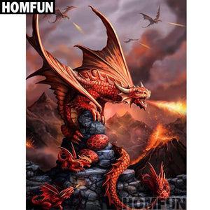 5D Diamond Painting Fire Breathing Dragons Kit