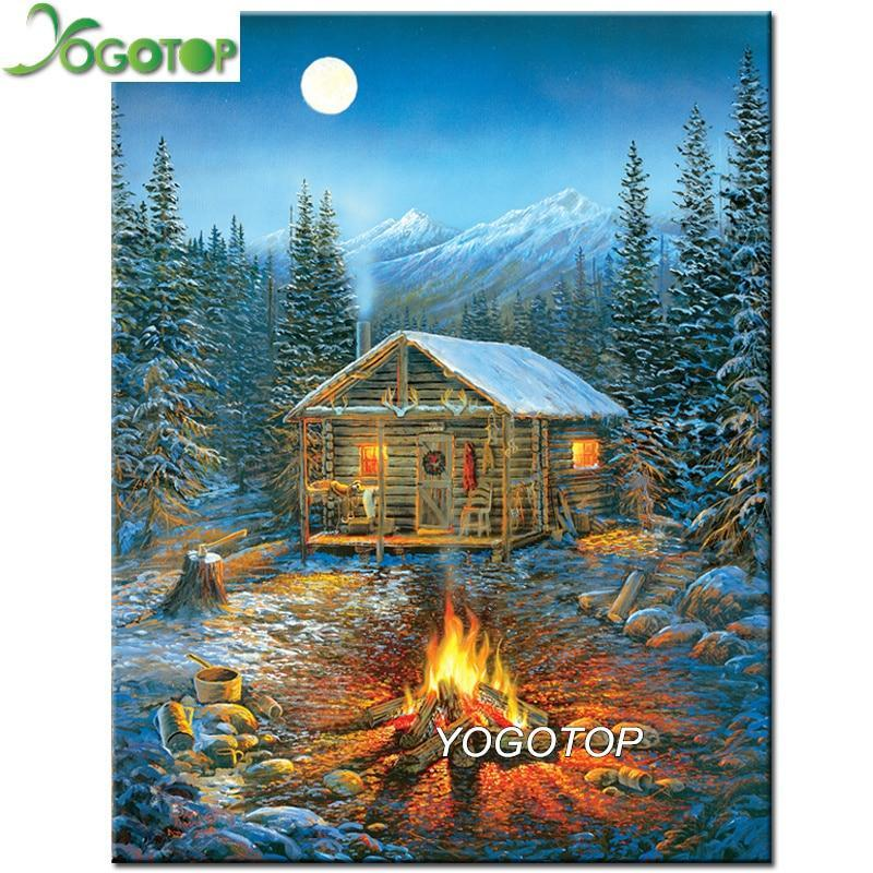 5D Diamond Painting Fire by the Cabin Kit
