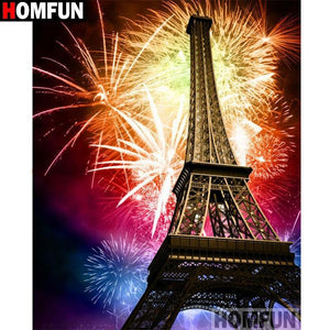 5D Diamond Painting Fireworks over the Eiffel Tower Kit