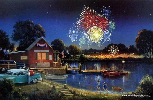 5D Diamond Painting Fireworks over the Lake Kit
