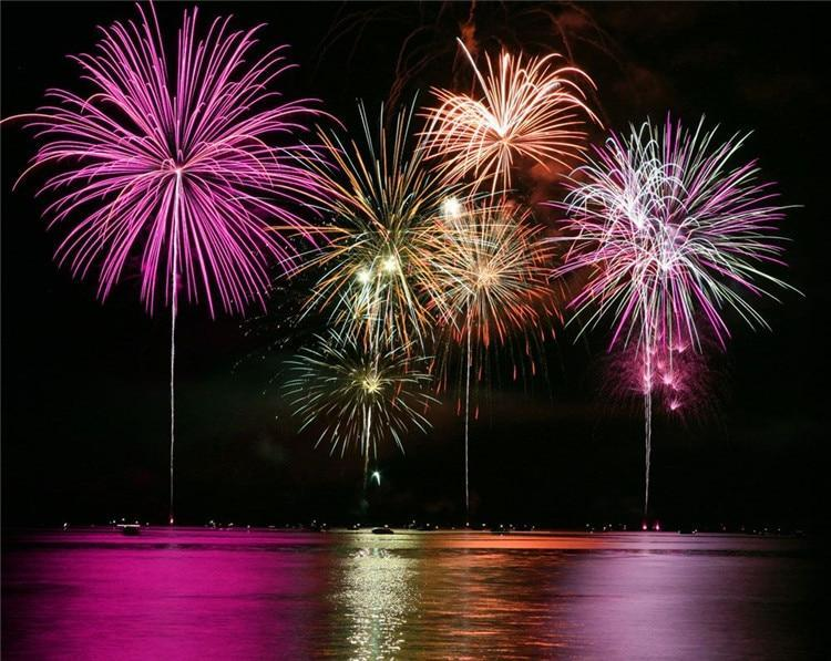 5D Diamond Painting Fireworks Over Water Kit