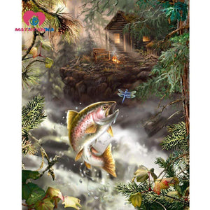 5D Diamond Painting Fish and Dragonfly Kit