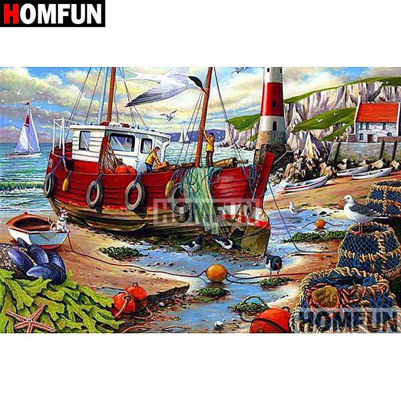 5D Diamond Painting Fishing Boat on Shore Kit