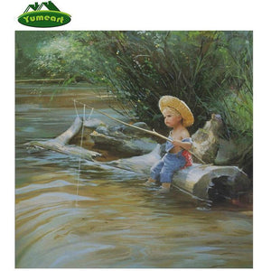 5D Diamond Painting Fishing on a Log Kit