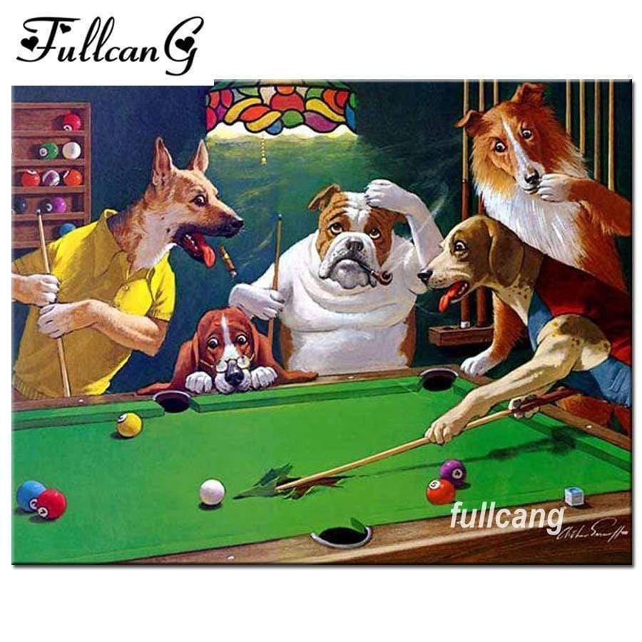 5D Diamond Painting Five Dogs Playing Pool Kit