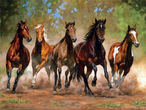 5D Diamond Painting Five Horses Galloping Kit