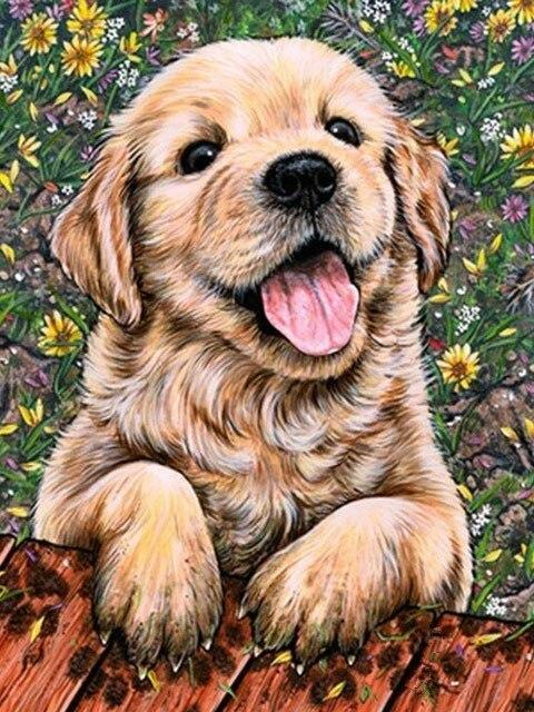 5D Diamond Painting Flower Background Puppy Kit