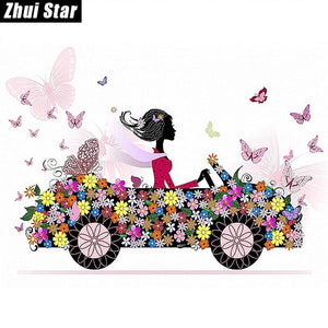 5D Diamond Painting Flower Car Kit