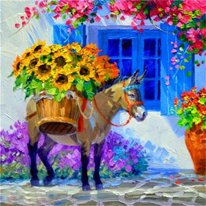5D Diamond Painting Flower Donkey Kit