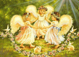 5D Diamond Painting Flower Garland Angels Kit