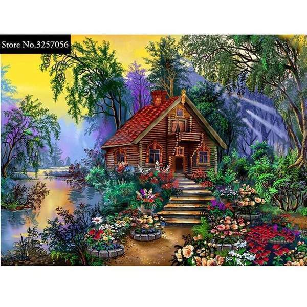 5D Diamond Painting Flower Path to the Log Cabin Kit