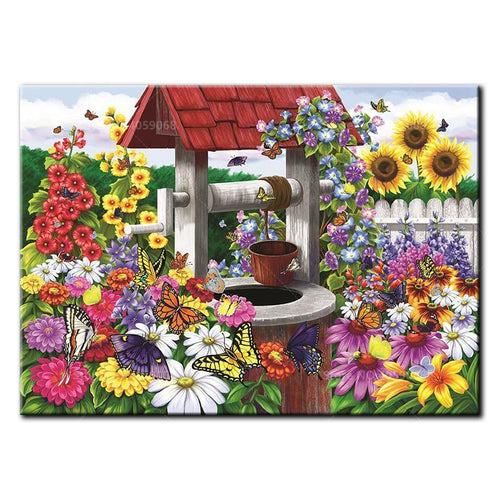 5D Diamond Painting Flower Water Well Kit