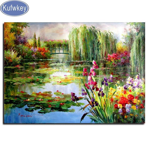 5D Diamond Painting Flowers by the Lily Pond Kit