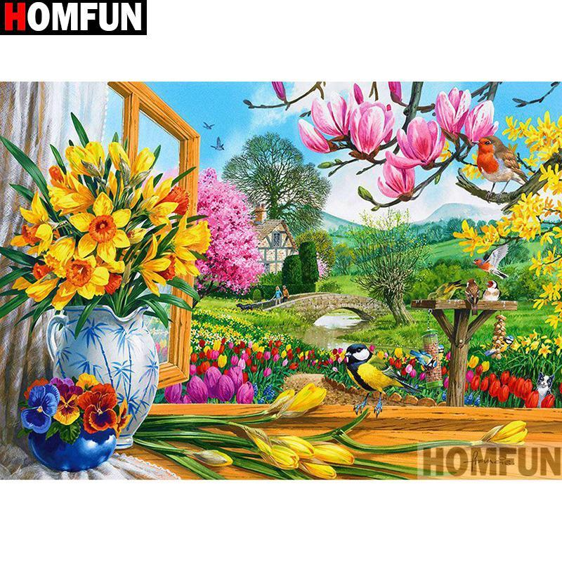 5D Diamond Painting Flowers from the Window Kit