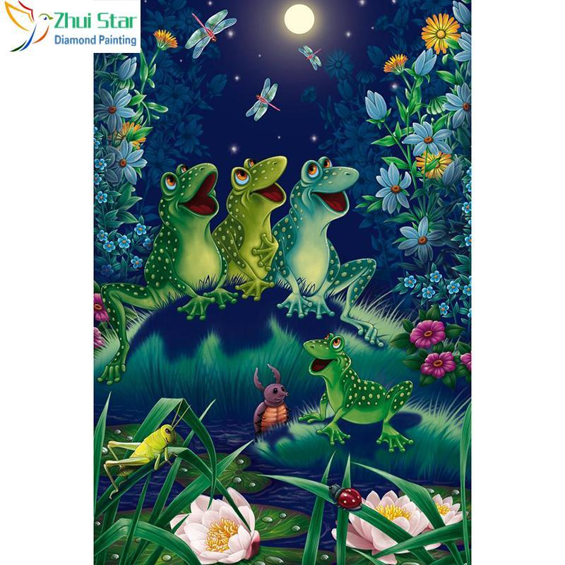 5D Diamond Painting Four Frogs in the Moonlight Kit