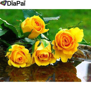5D Diamond Painting Four Yellow Roses Kit