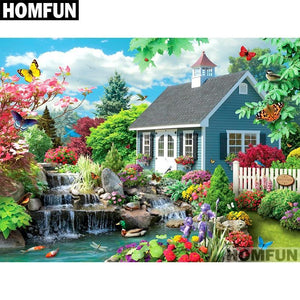 5D Diamond Painting Front Yard Stream and Flowers Kit