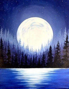 5D Diamond Painting Full Moon Forest Kit