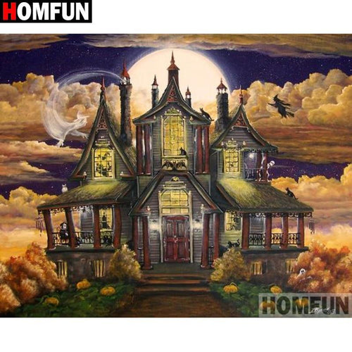 5D Diamond Painting Full Moon Haunted House Kit