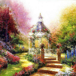 5D Diamond Painting Garden Flower Gazebo Kit
