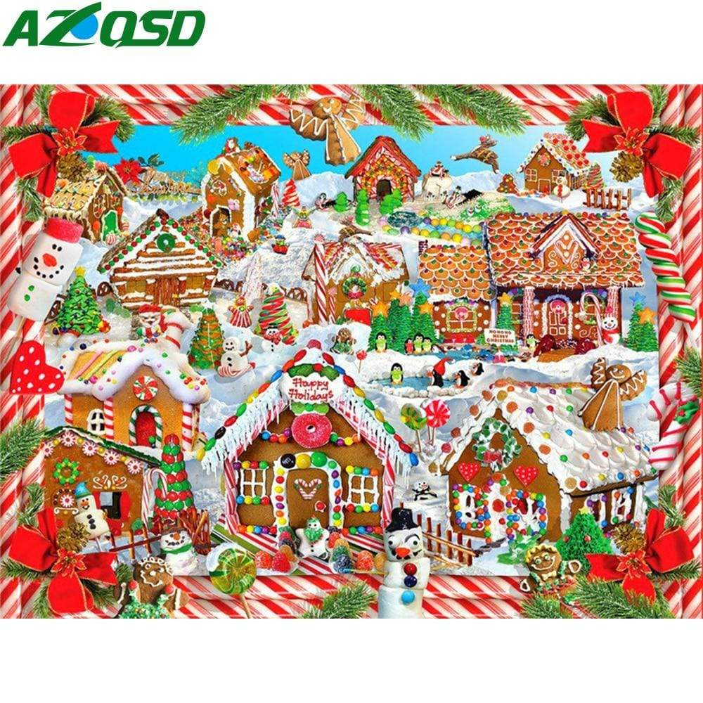 5D Diamond Painting Gingerbead House Village Kit