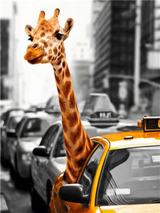 5D Diamond Painting Giraffe In a Taxi Kit