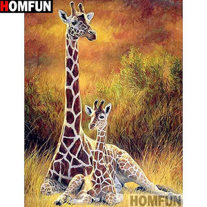 5D Diamond Painting Giraffes in the Brush Kit