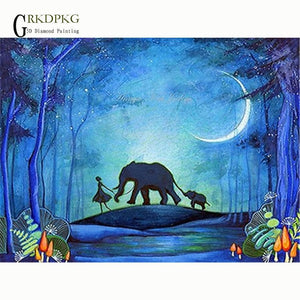 5D Diamond Painting Girl and Elephants Moonlight Silhouette Kit