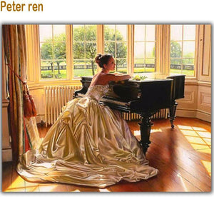 5D Diamond Painting Girl and Piano Kit